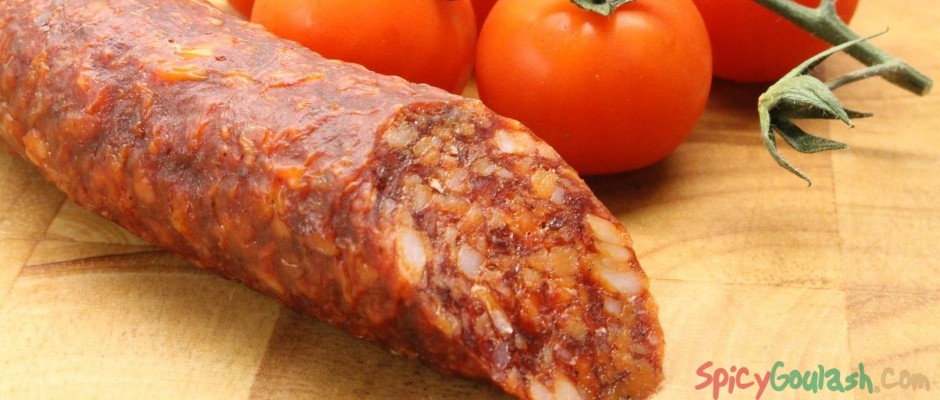 Hungarian sausage (Gyulai) with cherry tomatoes