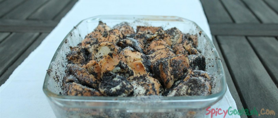 Poppy seed bread pudding (mákos guba) in baking pan