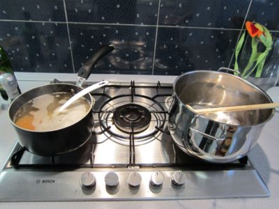 Cooking risotto on a gas stove