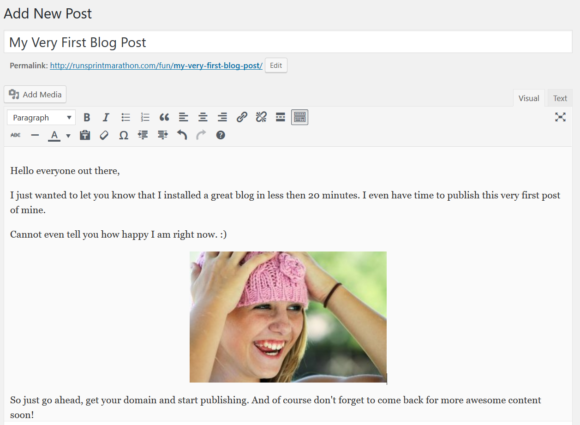 How To Start A Blog - First Post Example