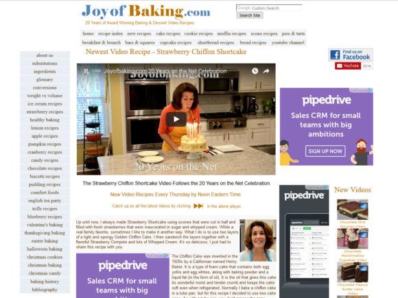 joyofbaking.com cooking blog screenshot