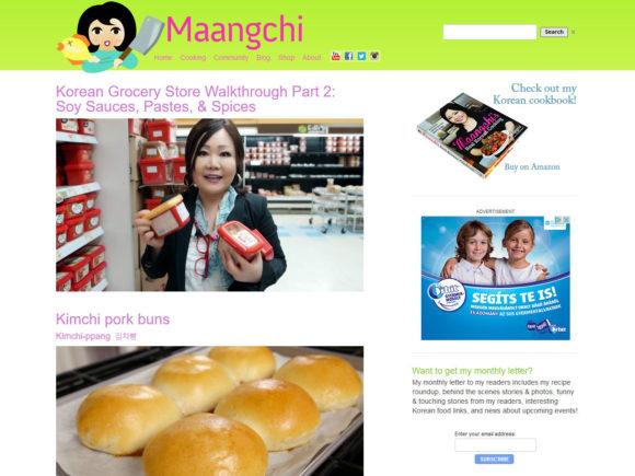 maangchi.com cooking blog screenshot