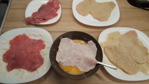 Making wienerschnitzel