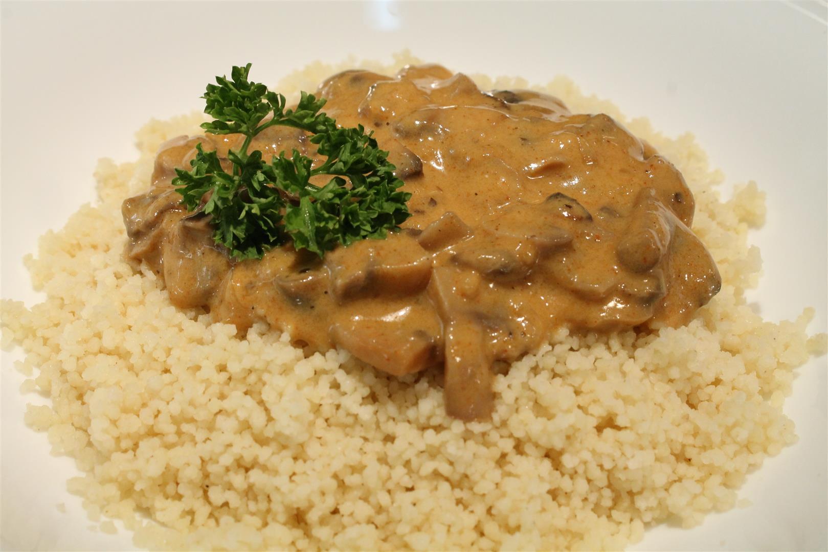 Mushroom paprikash over couscous