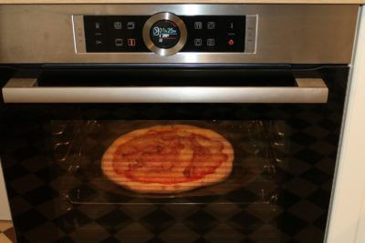 Pizza in wall oven